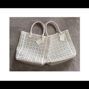 2 TORY BURCH Perforated Laser Cut PVC Tote Bags